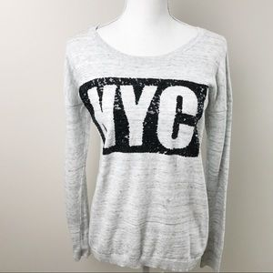 Express Grey NYC Sequined Sweater Summer, Medium